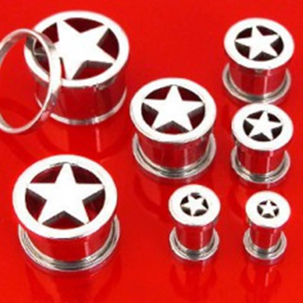 Šperky eshop Tunnel do ucha z chirurgickej ocele s hviezdou v strede - Hrúbka: 10 mm