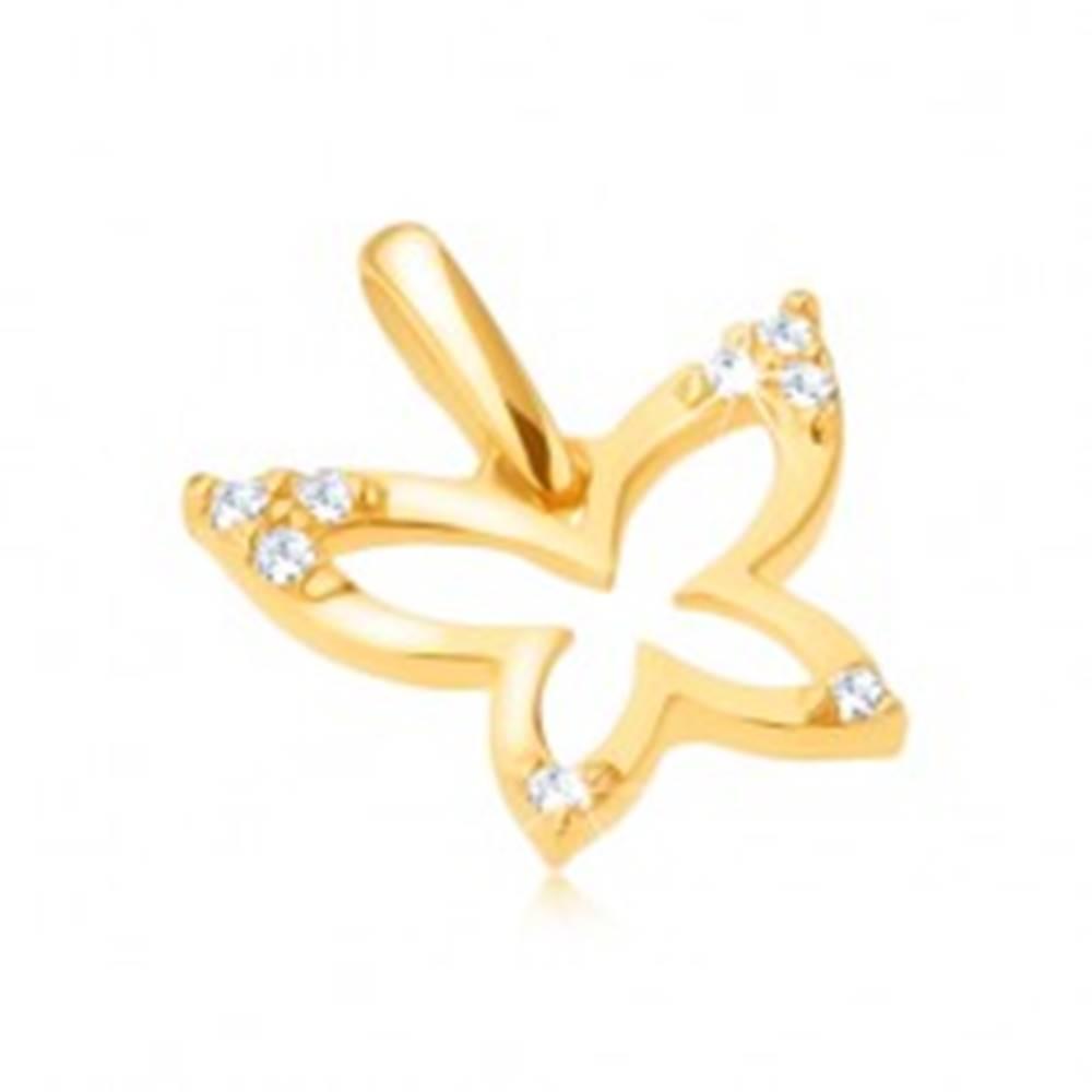 Šperky eshop Zlatý prívesok 375 - ligotavý obrys motýľa, zirkónové cípy krídel