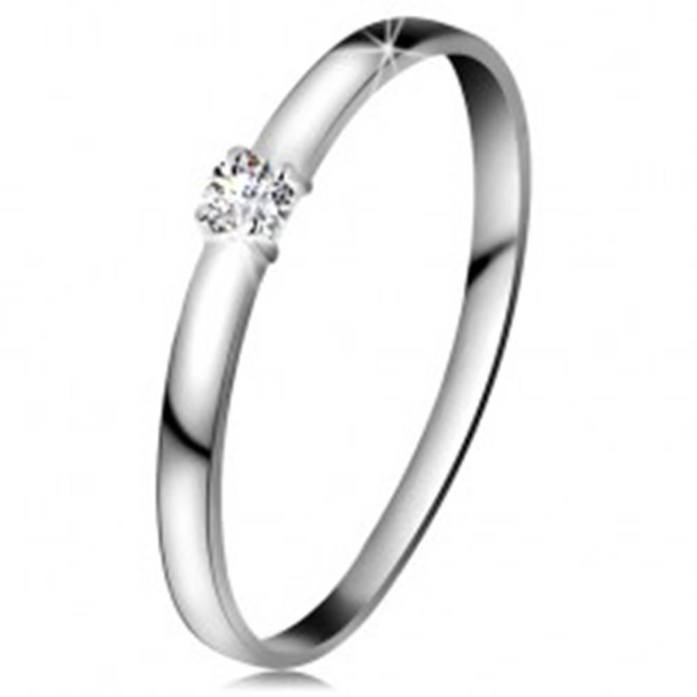 Šperky eshop Briliantový prsteň v bielom 14K zlate - diamant čírej farby, lesklé ramená - Veľkosť: 49 mm