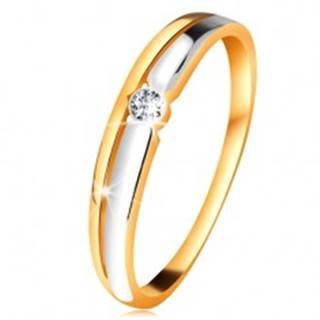 Briliantový prsteň zo 14K zlata - číry diamant v okrúhlej objímke, dvojfarebné línie - Veľkosť: 49 mm