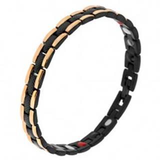 Čierny oceľový náramok s hadím vzorom, okrajové pásy zlatej farby, magnety