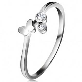 Diamantový prsteň z bieleho 14K zlata - dva číre brilianty, lesklý motýlik - Veľkosť: 49 mm