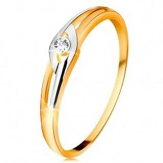 Diamantový prsteň zo 14K zlata, dvojfarebné ramená s výrezmi, číry briliant - Veľkosť: 49 mm