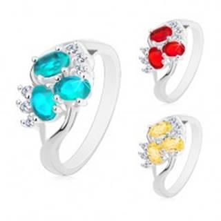 Lesklý prsteň s rozdelenými ramenami striebornej farby, číre zirkóniky, brúsené ovály - Veľkosť: 49 mm, Farba: Aqua modrá