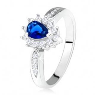 Lesklý prsteň - striebro 925, tmavomodrý zirkón - slza, číre kamienky - Veľkosť: 49 mm