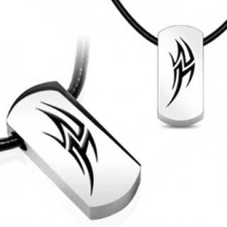 Náhrdelník na gumenej šnúrke - oceľový grafický symbol