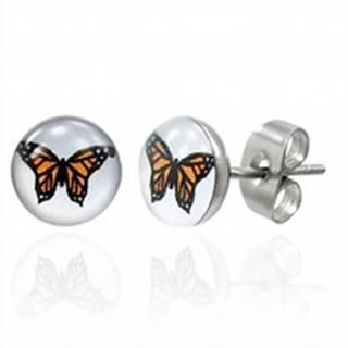 Náušnice z chirurgickej ocele s oranžovým motýľom