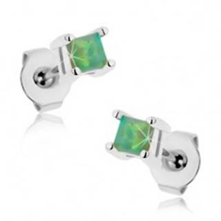 Náušnice z chirurgickej ocele, zelený štvorček - syntetický opál, 3 mm