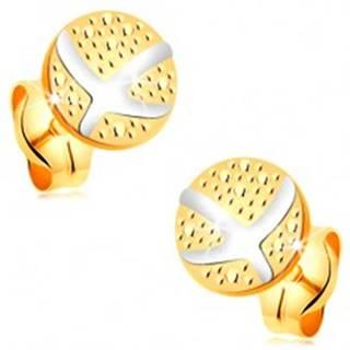 Náušnice zo 14K zlata - gravírovaný kruh, prekrížené oblúky z bieleho zlata