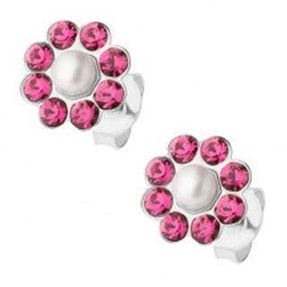 Náušnice zo striebra 925, kvietok s bielou perličkou, ružové krištáliky