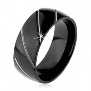 Obrúčka z ocele 316L čiernej farby, diagonálne pásy v striebornom odtieni, 8 mm - Veľkosť: 57 mm