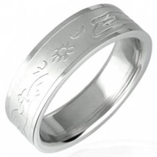 Oceľový prsteň so vzorom zapadajúceho slnka - Veľkosť: 51 mm