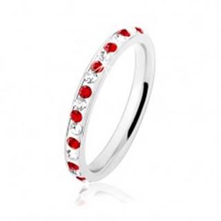 Oceľový prsteň striebornej farby, číre a červené zirkóniky, biela glazúra - Veľkosť: 49 mm