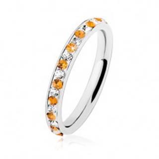 Oceľový prsteň striebornej farby, číre a oranžové zirkóniky, biela glazúra - Veľkosť: 49 mm