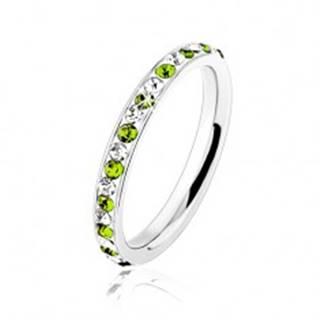 Oceľový prsteň striebornej farby, číre a svetlozelené zirkóniky - Veľkosť: 49 mm