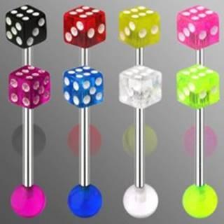 Piercing do jazyka z ocele - hracia kocka s bodkami bielej farby - Farba zirkónu: Červená - R