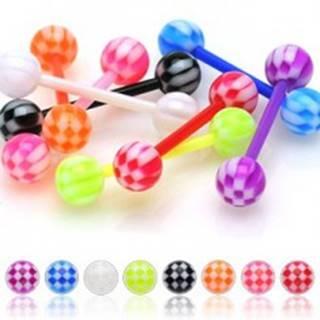 Piercing do jazyka z UV flexibilného materiálu šachovnicová gulička - Farba zirkónu: Červená - R