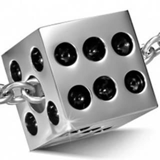 Prívesok z chirurgickej ocele, matná hracia kocka, čierne glazúrované bodky