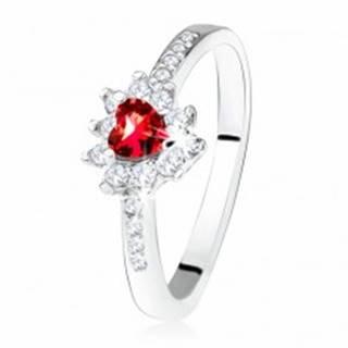 Prsteň s červeným zirkónovým srdiečkom, drobné číre zirkóny, striebro 925 - Veľkosť: 50 mm