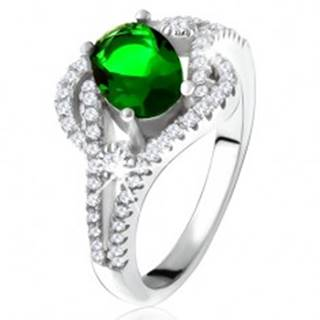 Prsteň - striebro 925, zaoblené línie, číre kamienky, oválny zelený zirkón - Veľkosť: 50 mm