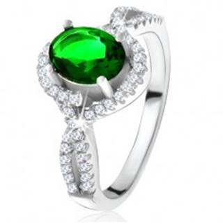 Prsteň - striebro 925, zaoblené línie, číre zirkóniky, oválny zelený kameň - Veľkosť: 50 mm