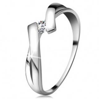 Prsteň v bielom zlate 585 s trblietavým diamantom, rozdelené prekrížené ramená - Veľkosť: 48 mm