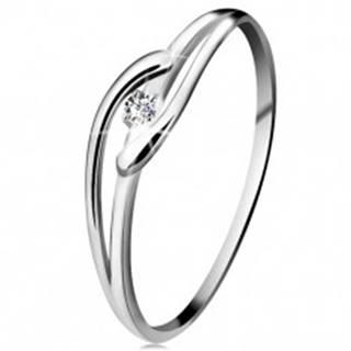 Prsteň v bielom zlate 585 s trblietavým diamantom, rozdelené zvlnené ramená - Veľkosť: 49 mm