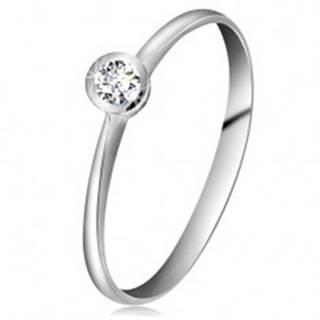 Prsteň z bieleho 14K zlata - ligotavý číry briliant v lesklej objímke, zúžené ramená - Veľkosť: 49 mm