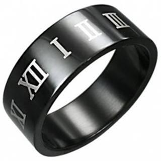 Prsteň z čiernej chirurgickej ocele s hnedými rímskymi číslicami - Veľkosť: 54 mm