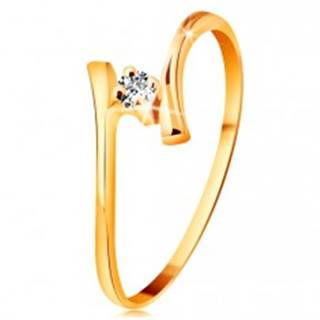 Prsteň zo žltého zlata 585 - žiarivý číry briliant, tenké zahnuté ramená - Veľkosť: 48 mm