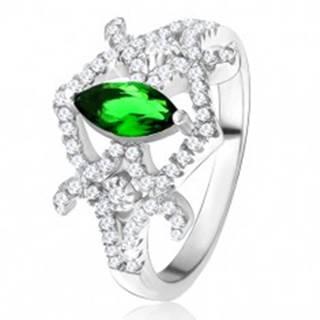 Prsteň - zrniečkový zelený zirkón, zaoblené línie, číre kamienky, striebro 925 - Veľkosť: 49 mm