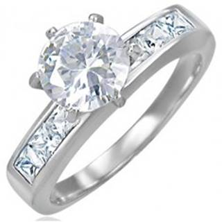 Snubný oceľový prsteň s vystupujúcim stredovým zirkónom - Veľkosť: 48 mm