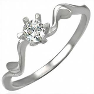 Snubný prsteň s krásne uchyteným zirkónom - Veľkosť: 49 mm