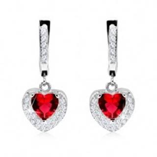 Strieborné 925 náušnice, prívesok s červeným zirkónom, dvojité srdce, číre kamienky
