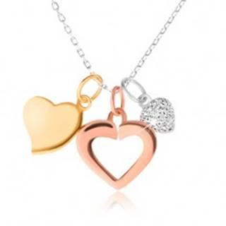 Strieborný 925 náhrdelník - retiazka, tri srdiečka, zlatá, strieborná a medená farba