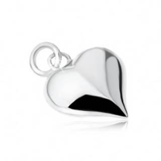 Strieborný 925 prívesok súmerného srdca, lesklý, vypuklý, hladký