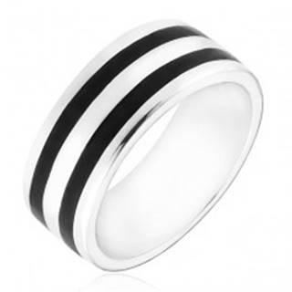 Strieborný prsteň 925 - obrúčka s dvomi čiernymi pásmi - Veľkosť: 50 mm