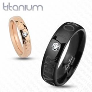 Titánová obrúčka medenej farby, nápis FOREVER LOVE, číry zirkón, 4 mm - Veľkosť: 49 mm