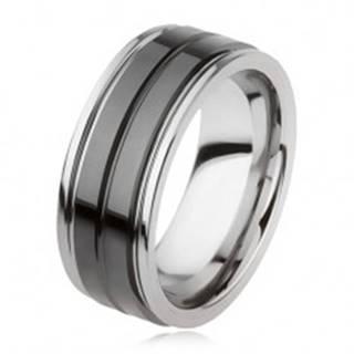 Wolfrámový prsteň s lesklým čiernym povrchom a zárezom, strieborná farba - Veľkosť: 49 mm