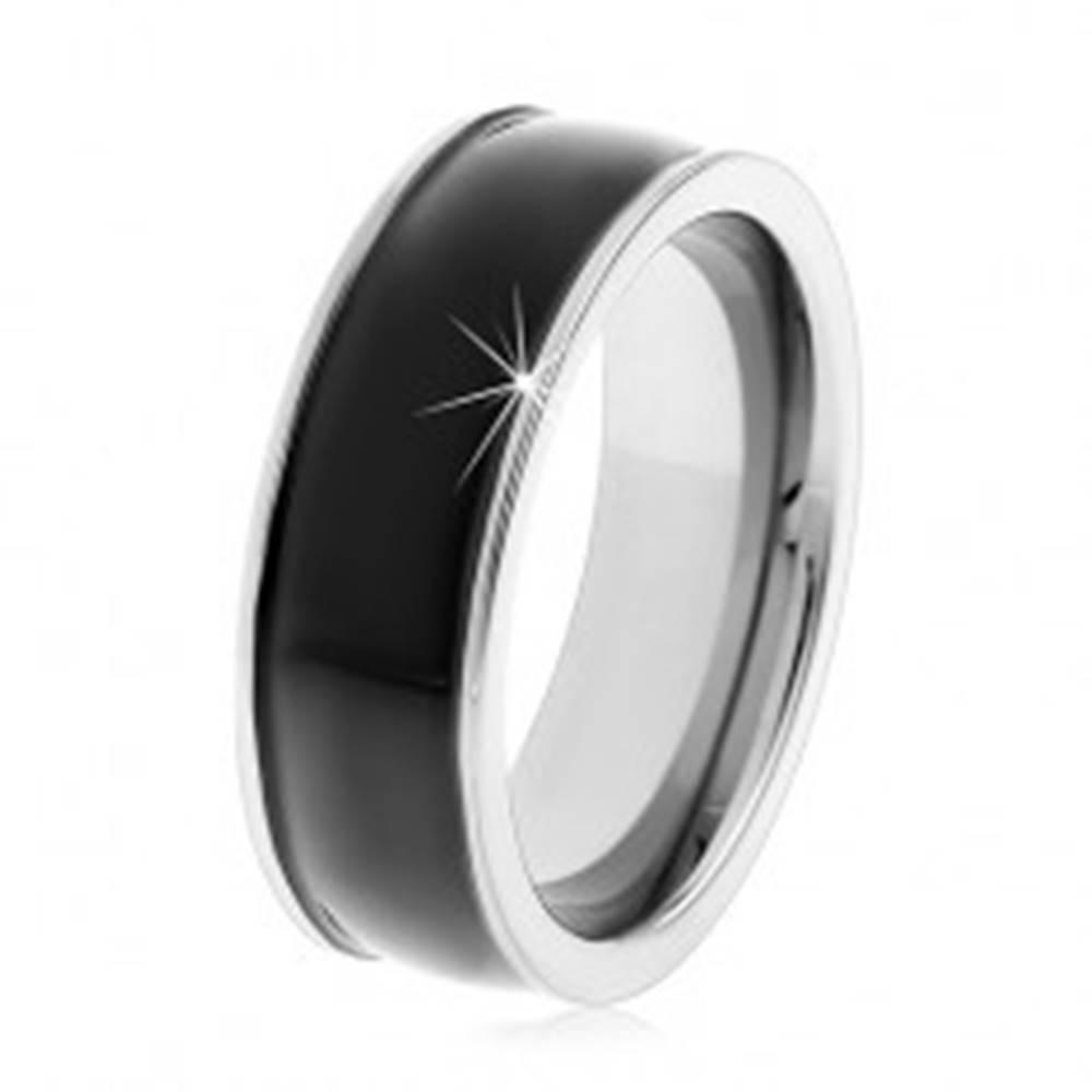 Šperky eshop Čierny tungstenový hladký prsteň, jemne vypuklý, lesklý povrch, úzke okraje - Veľkosť: 49 mm