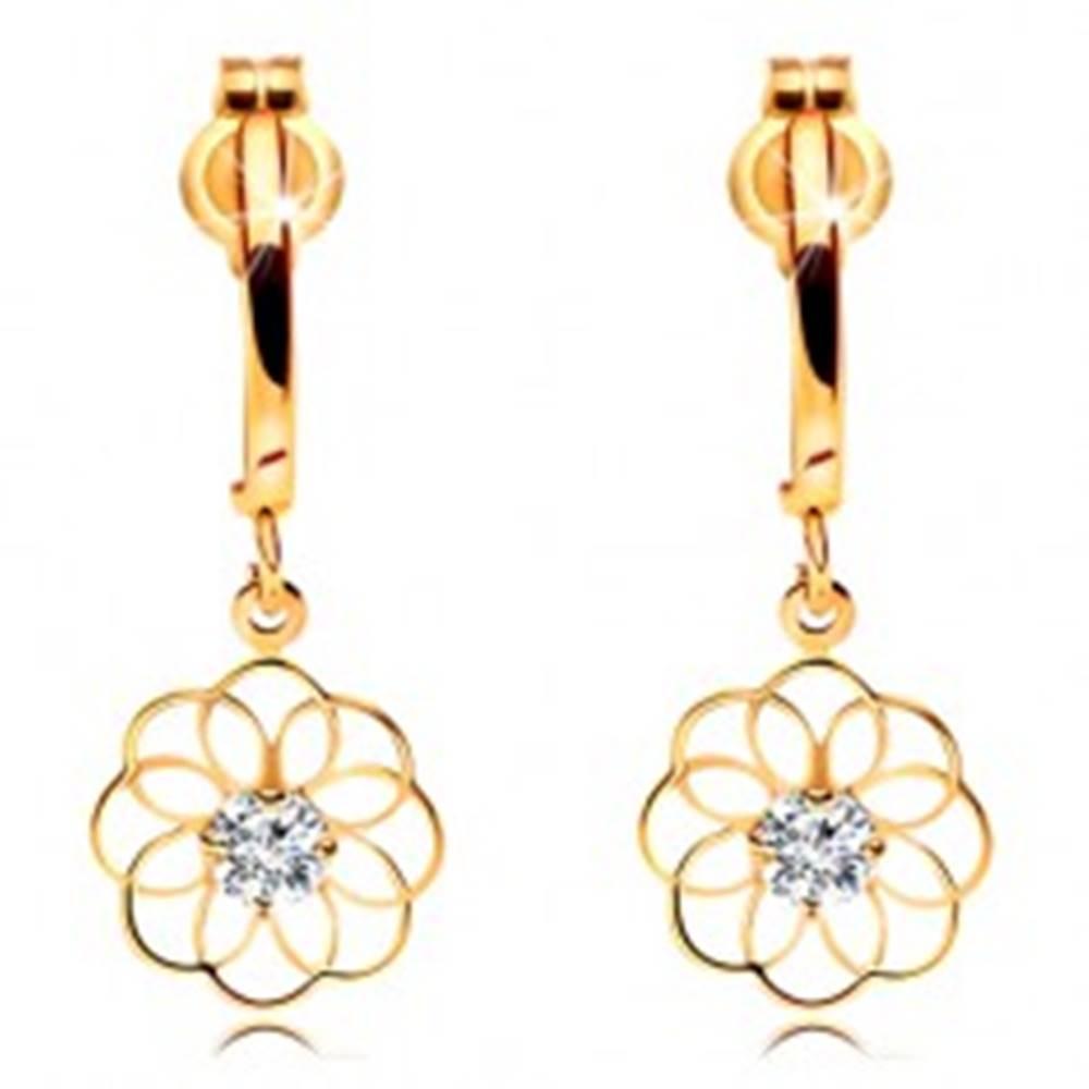 Šperky eshop Diamantové náušnice zo žltého 14K zlata - visiaci kvet s ligotavým briliantom