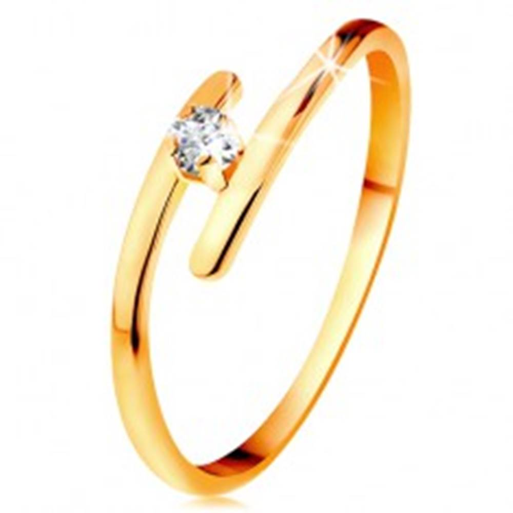 Šperky eshop Diamantový prsteň v žltom 14K zlate - žiarivý číry briliant, tenké predĺžené ramená - Veľkosť: 49 mm