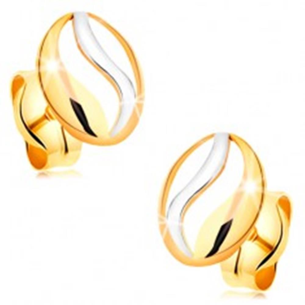 Šperky eshop Dvojfarebné náušnice v 14K zlate - kontúra oválu s vlnkou z bieleho zlata