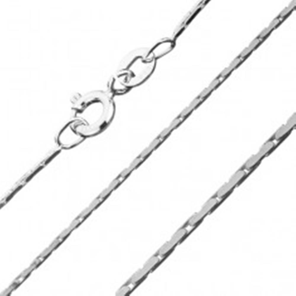 Šperky eshop Hranatá strieborná retiazka 925 - pás plochých oválov, 0,8 mm