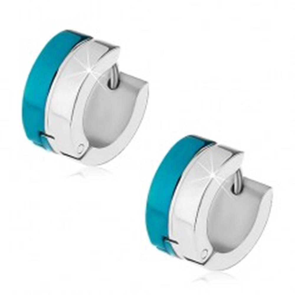 Šperky eshop Kĺbové náušnice z ocele 316L s pruhmi v modrom a striebornom odtieni