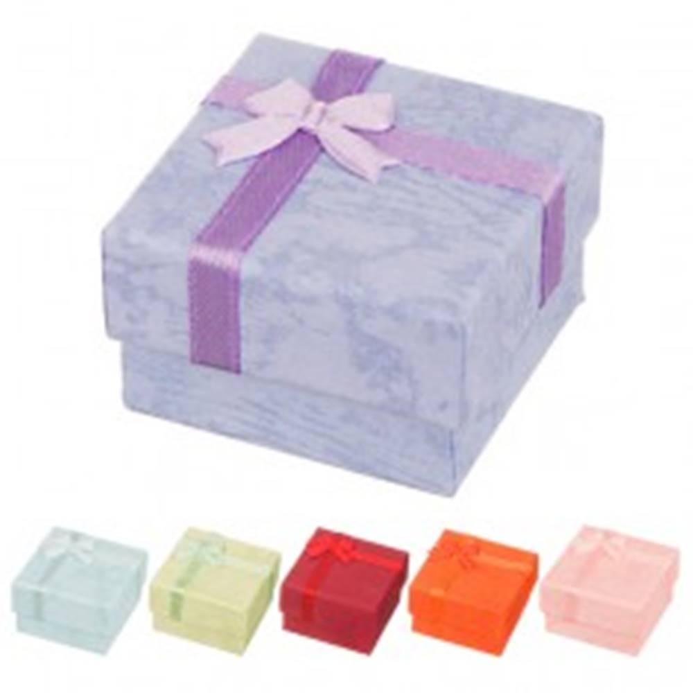 Šperky eshop Krabička na náušnice - mramorované pastelové odtiene s mašličkou - Farba: Červená