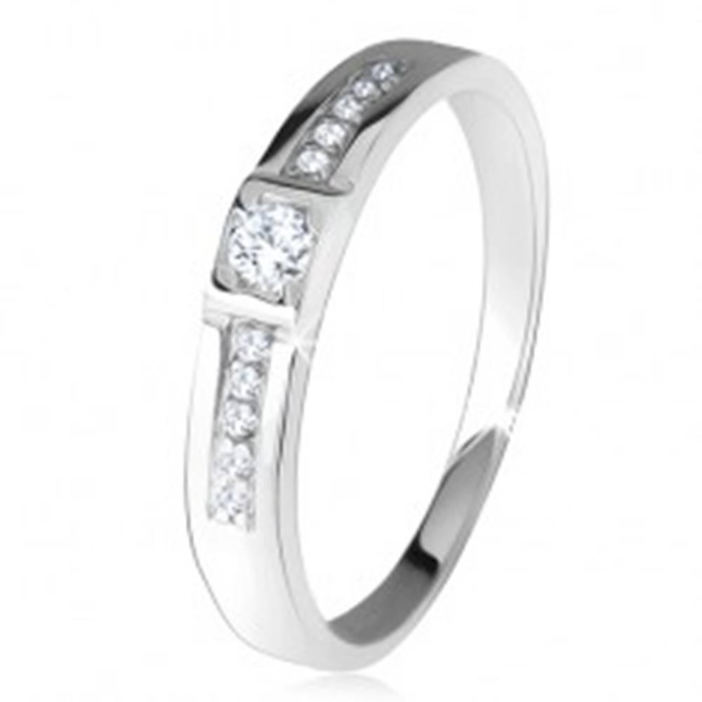 Šperky eshop Lesklá obrúčka, dve rovné línie, číre kamienky, striebro 925 - Veľkosť: 47 mm