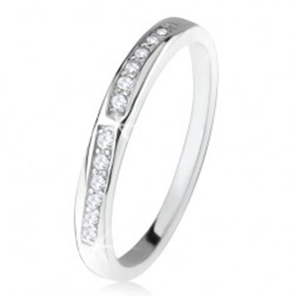 Šperky eshop Lesklá obrúčka, dve zaoblené číre zirkónové línie, striebro 925 - Veľkosť: 49 mm