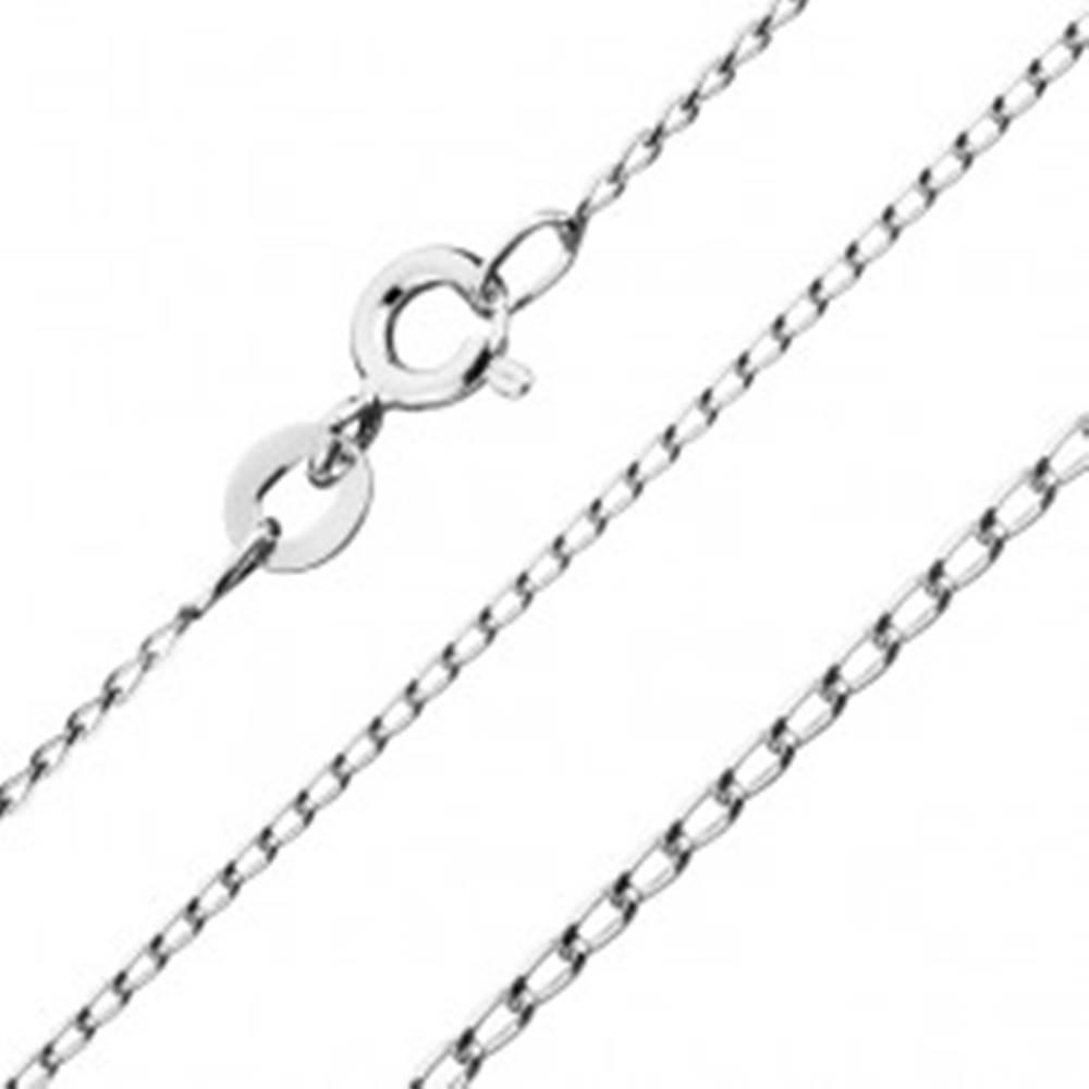 Šperky eshop Lesklá strieborná retiazka 925 - hladké podlhovasté očká, 0,8 mm