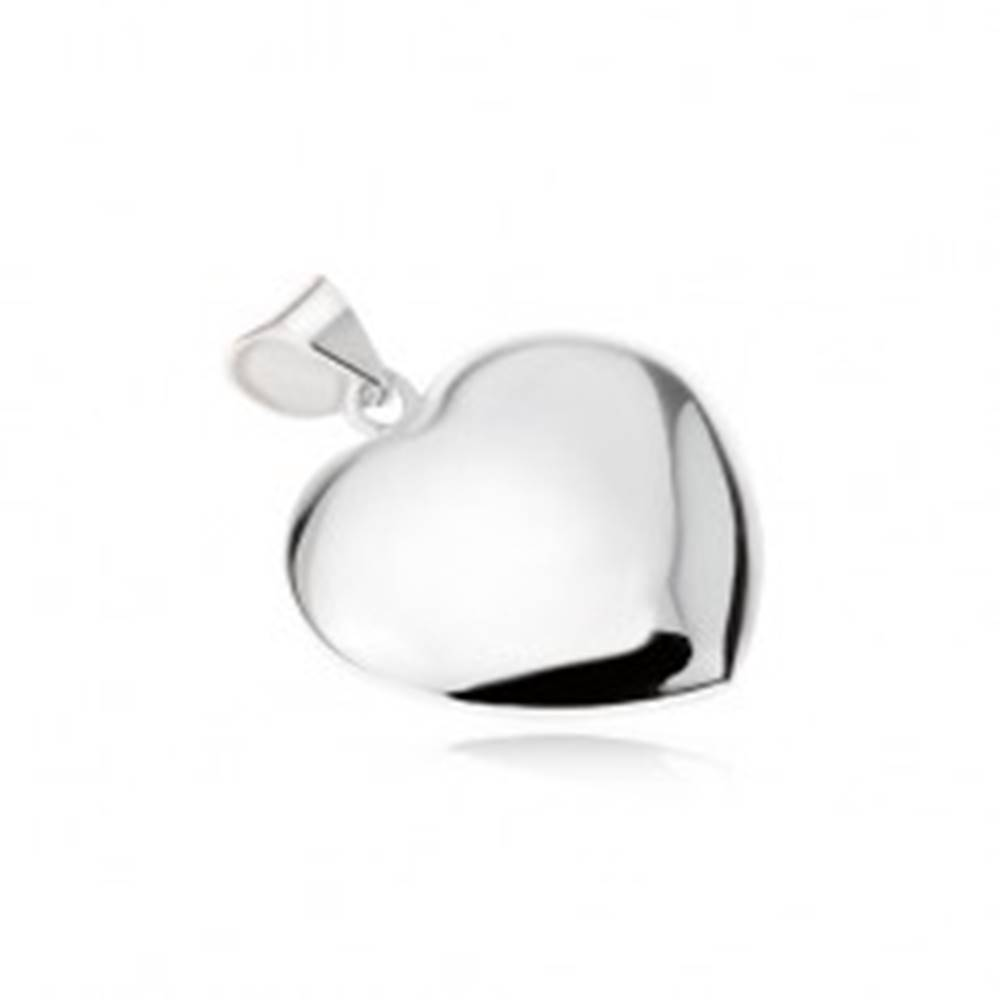 Šperky eshop Lesklý hladký prívesok symetrického srdca, zo striebra 925